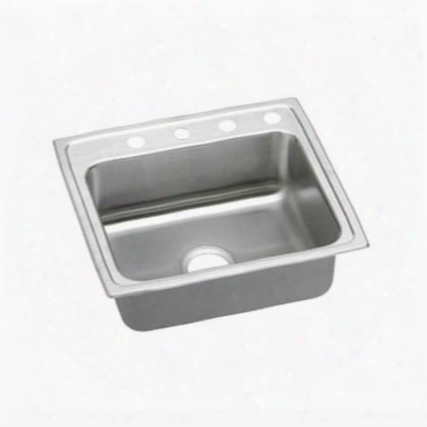 "Lrad2219604 22"" Top Mount Ada Compliant Single Bowl 18-gauge Stainless Steel Sink With 4"