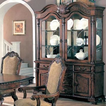 "Saint Charles Collection 100134 64"" China Cabinet With 2 Glass Doors 2 Wood Doors 2 Glass Shelves 6 Drawers Poplar Wood And Veneer Materials In Brown"