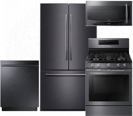 "4-piece Black Stainless Steel Kitchen Package With Rf261beaesg 36"" French Door Refrigerator Nx58j7750sg 30"" Gas Range Dw80k7050ug 24"" Fully Integrated"