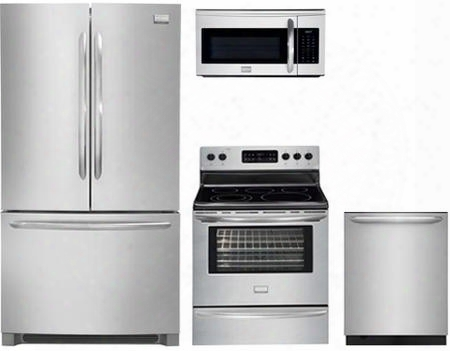 "4-piece Kitchen Package With Fghn2866pf 36"" French Door Refrigerator Dgef3041kf 30"" Electric Freestanding Range Fgmv175qf 30"" Over The Range Microwave Oven"