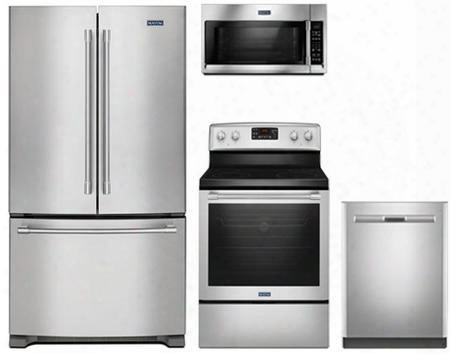 "4-piece Kitchen Package With Mfc2062fez 36"" French Door Refrigerator Mer8650fz 30"" Electric Freestanding Range Mdb8959sfz 24"" Built In Dishwasher And"