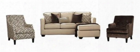 Carlinworth Collection 84401scac12 3-piece Living Room Set With Sofa Chaise Solid Afcent Chair And Patterned Accent
