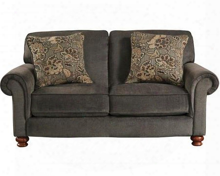 "Downing Collection 4384-02-2906-88/2908-46 74"" Loveseat With Rolled Arms Turned Bun Feet And Reversible Seat Cushions In"