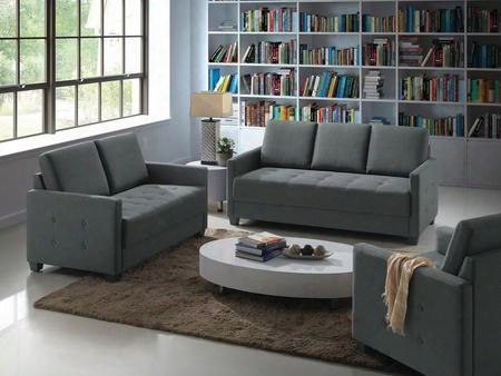 G778set 3 Pc Living Room Set With Sofa + Loveseat + Armchair In Charcoal