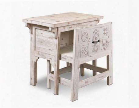 Hh8530440wht Tahiti White Carved Desk With Hidden