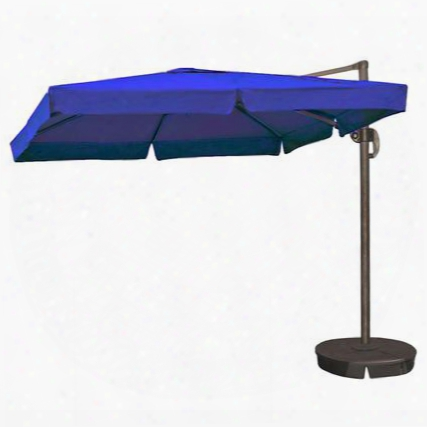 Nu6180 Santorini Ii 10-ft Square Cantilever Umbrella W/ Valance In Blue Sunbrella