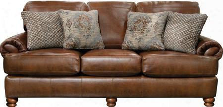 "Southport Collection 4367-03-1166-19/1266-19 94"" Sofa With Wooden Tuned Legs Faux Leather Upholstery And Decorative Trapunto Stitching In"