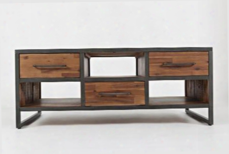 "Studio 16 Collection 16600-1 48"" Cocktail Table With Acacia Solids Metal Detail Three Drawers And Tree Shelves In"
