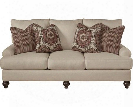 "Westchester Collection 3232-03-2859-94/1855-16/2858-94 85"" Sofa With Turned Legs Four Throw Pillows And Recessed Rolled Arms In"