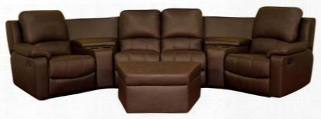 8802-brown-7pc Home Theatre Sets Home Theater Reclining Sofa 7 Piece Set: