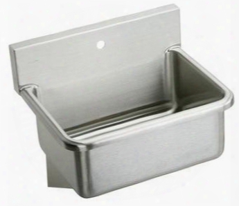 """Ews25201 25"""" Wall Mount 14 Gauge Stainless Steel Scrub Sink With One Faucet Hole: Stainless"""
