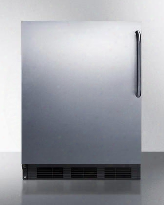 """Ff6b7csslhd 24"""" Commercially Approved Compact Refrigerator With 5.5 Cu. Ft. Capacity Door Lock Door Storage And Interior Light In Stainless"""