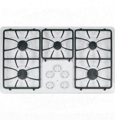 "Jgp633detww 36"" Built-in Gas Cooktop With Deep-recessed Cooktop Sealed Cooktop Burners High Output Burner Precise Simmer Burner Matte Grates"