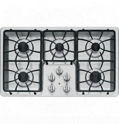 "Jgp633setss 36"" Gas Cooktop With 5 Sealed Burners 11 000 Btu Burner Precise Simmer Burner Matte Grates And Dishwasher-safe Knobs In Stainless"