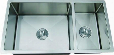 "Li-2100-r Molino 33 1/2"" Double Bowl Undermount Kitchen Sink With Soundproofing System And Mounting Hardware In Stain Less"