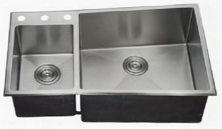 "Lix-700-d Aquino 33 1/2"" Double Bowl Undermount/drop-in Kitchen Sink With Soundproofing System And Mounting Hardware In Stainless"