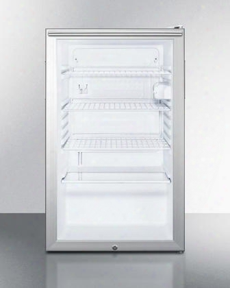 "Scr450lbi7hh 20"" Commercially Approved Compact All Refrigerator With 4.1 Cu. Ft. Capacity Door Lock And Interior Light In Stainless Look Door"