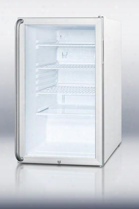 "Scr450lshada 32"" 4.1 Cu. Ft. Refrigerator With Glass Door Fully Finished White Cabinet Factory Installed Lock Automatic Defrost Adjustable Wire Shelves"
