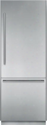 "T30bb810ss 30"" Energy Star Rated Freedom Collection Built In Bottom Freezer Refrigerator With 16 Cu. Ft. Capacity Masterpiece Handle Led Side Wall Lighting"