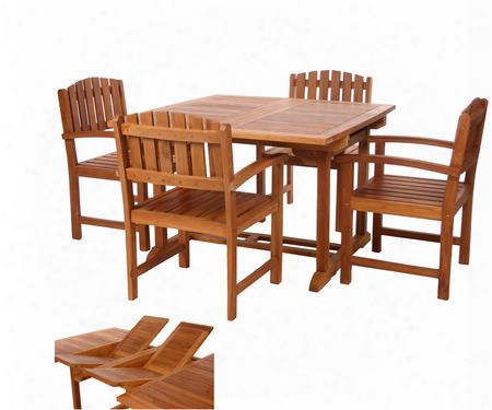 Td72-20 5-piece Patio Set With Butterfly Extension Table And Four Teak Dining Chairs In Light Teak