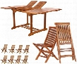 TD72-22 9-Piece Patio Set with Butterfly Extension Table and 8 Teak Folding Chairs in Light Teak