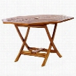 "TO48 48"" Octagon Folding Table with Indonesian Teak Stretcher and Umbrella Hole in Light Teak"