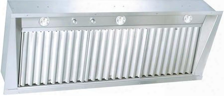 "Uib58nb 58"" Custom Hood Set In With Variable Fan Control Baffle Filters And Dimmer Light Switch In Stainless"