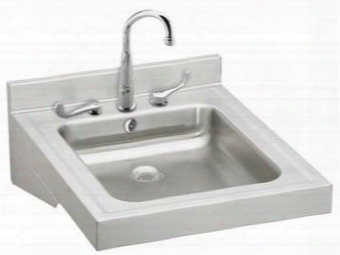 """Wclwo1923osdc Stainless Steel 19"""" X 23"""" Single Basin Wheelchair Wash-up Bathroom Sink Package With Single Faucet Hole And Overflow: Stainless"""