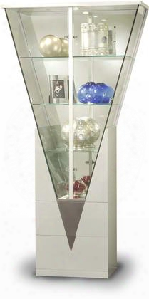 6625-cur Silver Triangular Curio With Mirrored