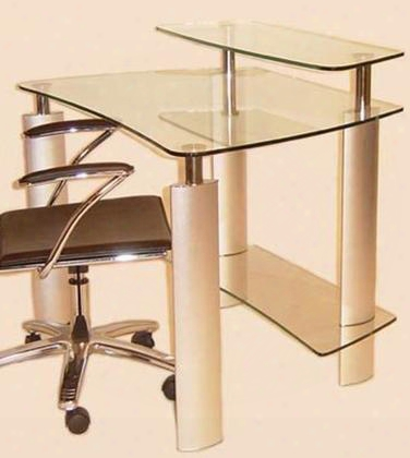 6912-dsk Clear Glass Computer Desk With Silver/chrome