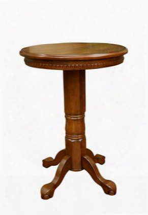 "Cicero Series 610000vo 31"" Pub Table With Terrific Dental Trim And Artisan-crafted Legs In Vintage Oak"