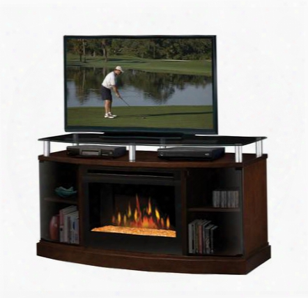 """Dfp25-ma1015g Media Console With Smoked Glass Top Which Supports Up To A 50"""" Flat Screen Tv 25"""" Landscape Firebox With Glass Ember Bed:"""