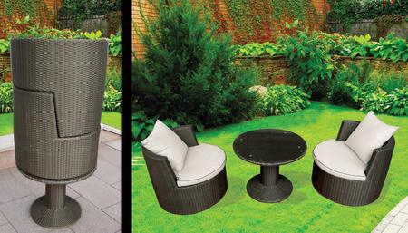 Dm-gv-505 Art-deck-oh! Geo-vino Interlocking All Weather Wicker Furniture Set In