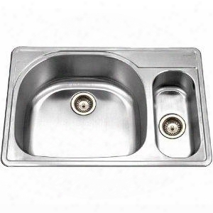 Mes-3221-1 Medallion Gourmet Series Undermount Stainless Steel 60/40 Double Bowl Kitchen Sink Small Bowl