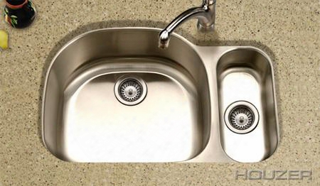 "Mg-3209sl Medallion Designer 32"" Undermount Stainless Steel Double Bowl ( Small Bowl On The Left) Kitchen Sink: Satin"