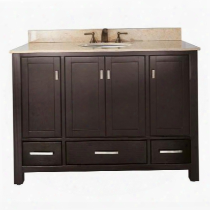 "Modero Modero-vs48-b 48"" Vanity With Beige Marble Top White Sink Four Soft Close Doors And Three Soft Close Drawers In"