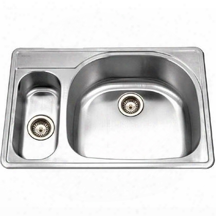 Pmg-3322sr-1 Premiere Designer Series Topmount Stainless Steel 1-hole 70/30 Double Bowl Kitchen Sink Small Bowl