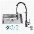 "VG15019 32"" Farmhouse Stainless Steel Kitchen Sink Set with 18.5"" Stainless Steel Faucet Pull-Out Spray Head Embossed VIGO Cutting Board and Soap"