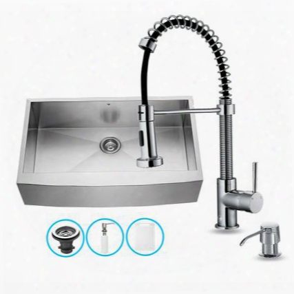 "Vg15041 32"" Stainless Steel Kitchen Sink Set With 18.5"" Stainless Steel Faucet Pull-out Spray Head Embossed Vigo Cutting Board And Soap"