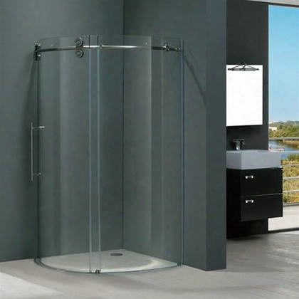"Vg6031stcl40l 40"" X 40"" Corner Shower Enclosure With Frameless Design Tempered Clear Glass And Rust-free Hardware In Stainless Steel: Left"
