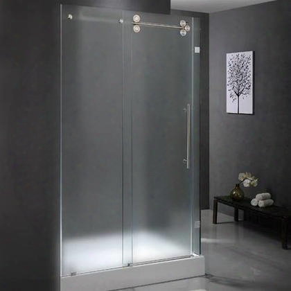 """Vg6051stmt60l 36"""" X 60"""" Shower Enclosure With Frameless Design Tempered Frosted Glass And Rust-free Hardware In Stainless Steel: Left"""