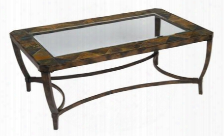 "267-011 Sedona Collection 50"" Wide Rustic Rectangle Cocktail Table With Slate"