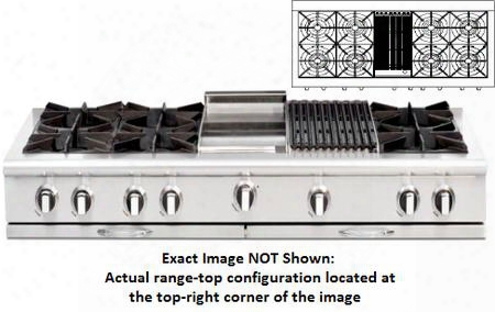 "Culinarian Series Cgrt604b4-l 60"" Restaurant Style Liquid Propane Range Top With 8 Burners 12"" Thermo-griddle And Stainless Steel Cover In Stainless"