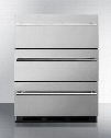 "SP6DSSTBTHIN7 24"" 5.4 cu.ft. Capacity 3 Drawer Refrigerator Automatic Defrost Adjustable Thermostat Anti-tip Bracket 100% CFC Free: Stainless Steel Thin"