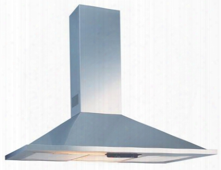 "Val36s 36"" Wall Mounted Hood With 500 Cfm Aluminum Mesh Filter Two 40w Candelabra Lighting And Slide Controls: Stainless"