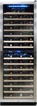 "Vt-155sbw 24"" Dual-zone Wine Cooler With 155 Bottle Capacity Touch Screen Control Panel Blue Led Interior Light Security Lockset 15 Pu0ll Out Wood Shelves"