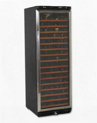 "Wcr682ss2 24"" Wide 160 Bottle Wine Cooler With 16 Wooden Shelves Led Lighting System Auto Defrost And Reversible Double-glass"