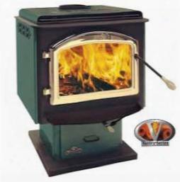 "1900f Large 26"" Epa Pedestal Wood Burning Stove 24 Karat Gold Plated Louvers Porcelain Enamel Green"