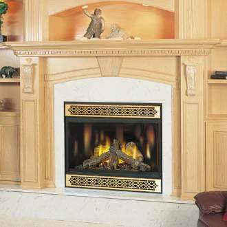 Bgnv42n Top Vent Fireplace With Black Door Natural