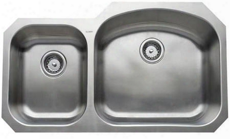 "Chu3721-79 Chicago Series 37"" Wide Double Bowl Undermount Premium Type 304 Stainless Steel Kitchen Sink Exclusive Unipoilish Polishing Technique: Small Bowl"